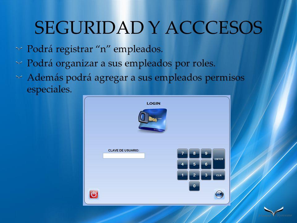 SEGURIDAD Y ACCCESOS Podrá registrar n empleados. Podrá organizar a sus empleados por roles. Además podrá agregar a sus empleados permisos especiales.