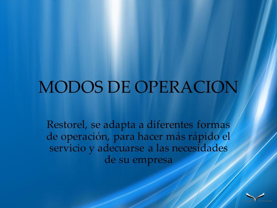 MODOS DE OPERACION Restorel, se adapta a diferentes formas de operación, para hacer más rápido el servicio y adecuarse a las necesidades de su empresa