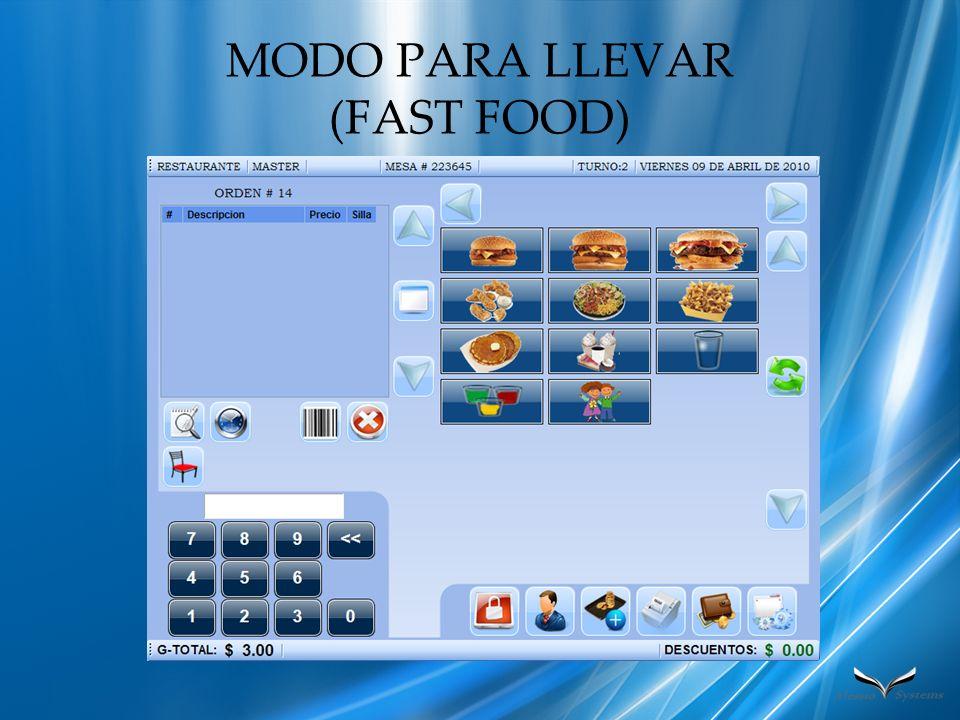 MODO PARA LLEVAR (FAST FOOD)