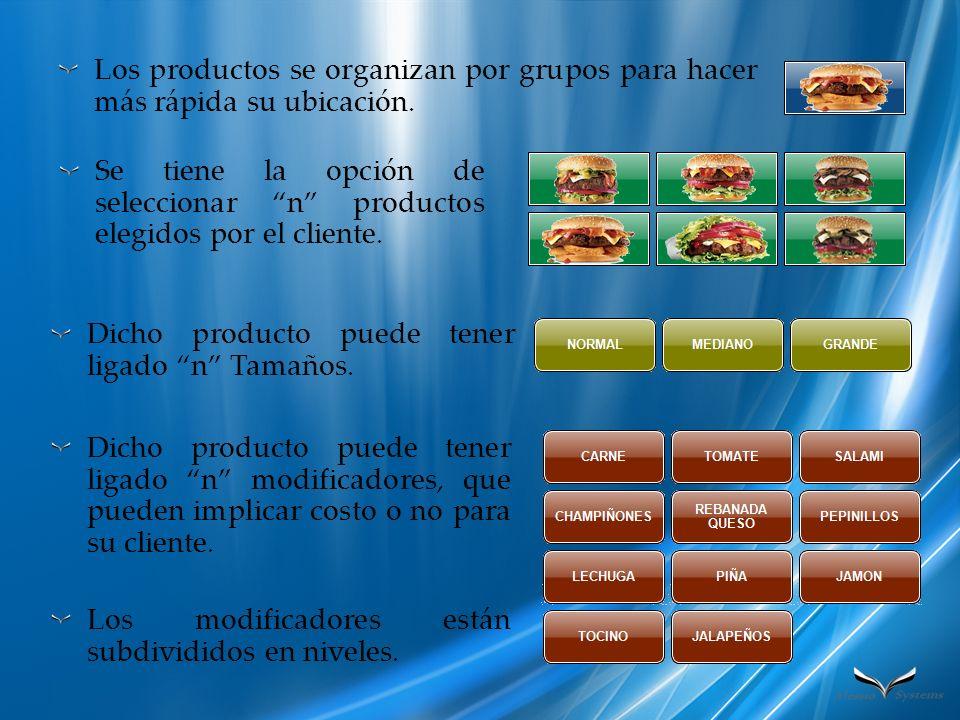 Los productos se organizan por grupos para hacer más rápida su ubicación. Se tiene la opción de seleccionar n productos elegidos por el cliente. Dicho