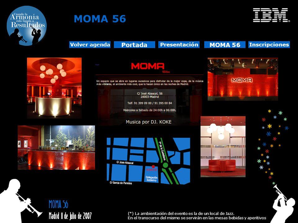 MOMA 56 (*) La ambientación del evento es la de un local de Jazz. En el transcurso del mismo se servirán en las mesas bebidas y aperitivos Portada Pre