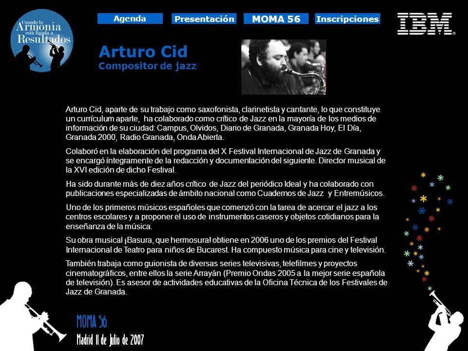 Arturo Cid Compositor de jazz Arturo Cid, aparte de su trabajo como saxofonista, clarinetista y cantante, lo que constituye un currículum aparte, ha c