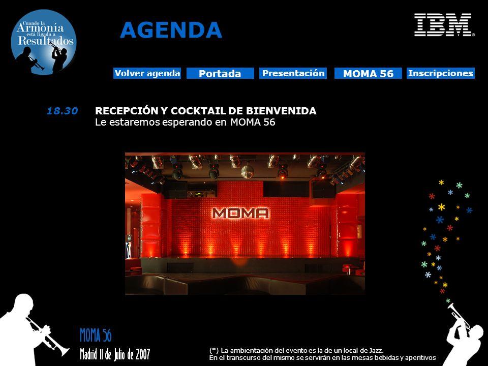 Portada Presentación MOMA 56 Inscripciones Volver agenda 18.30RECEPCIÓN Y COCKTAIL DE BIENVENIDA Le estaremos esperando en MOMA 56 AGENDA (*) La ambie