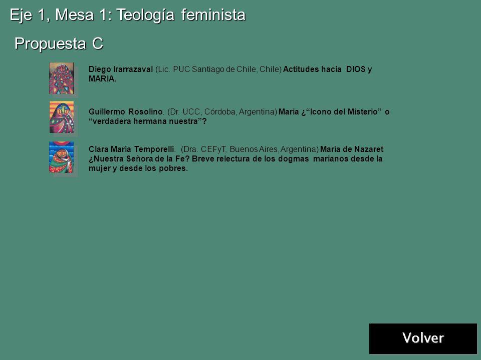 Eje 1, Mesa 1: Teología feminista Propuesta A Propuesta B Virginia R. Azcuy. (Dra. UCA y USAL/San Miguel, Argentina) En la mesa del compañerismo. El l