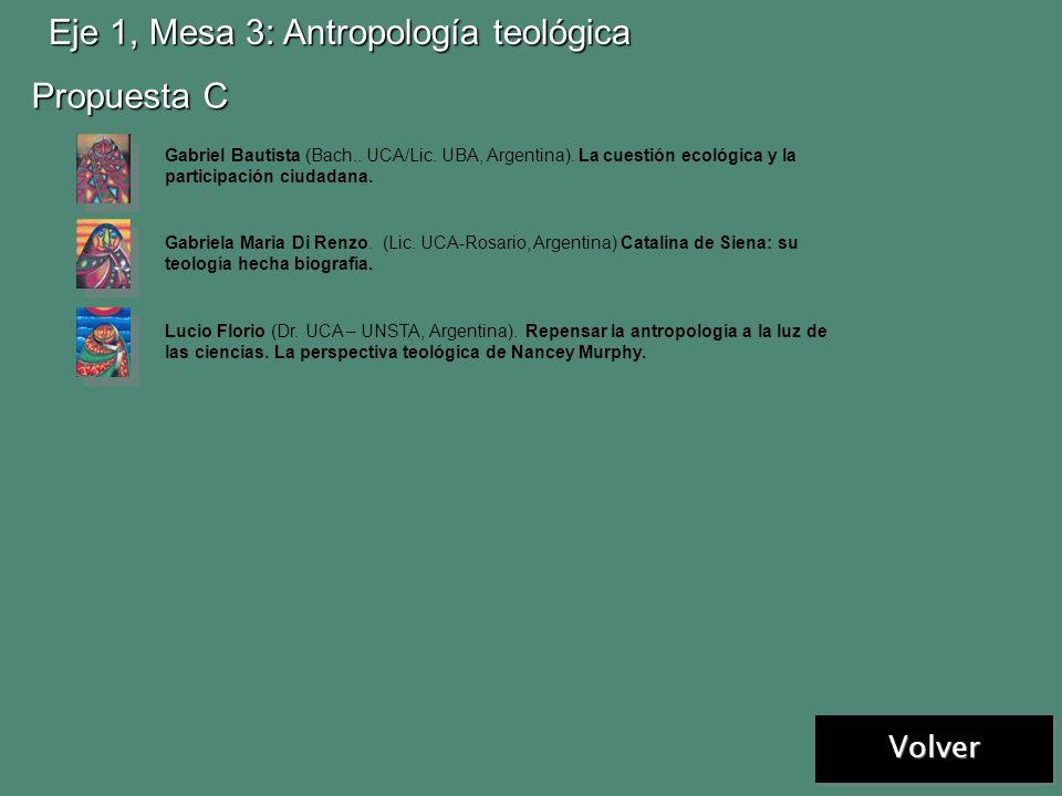 Próxima Eje 1, Mesa 3: Antropología teológica Propuesta A Propuesta B Nancy V. Raimondo. (Lic. USAL/San Miguel, Argentina residente en Alemania) La má