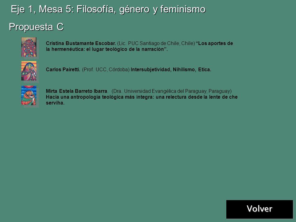 Volver Eje 1, Mesa 5: Filosofía, género y feminismo Propuesta A Propuesta B Marina Juárez Ortiz (Dra. en Filosofía, UCC/UNC/UNRC, Córdoba, Argentina).