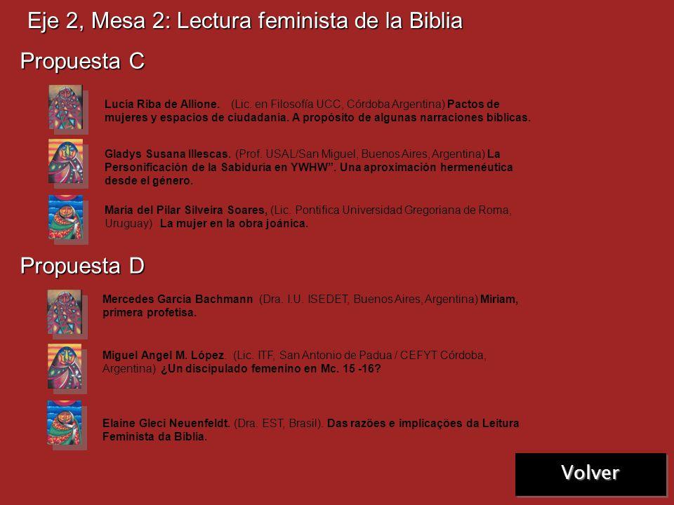 Próxima Eje 2, Mesa 2: Lectura feminista de la Biblia Propuesta A Propuesta B Sandra Olivera. (Bach. OBSUR, Montevideo, Uruguay) La Compasión, Aprendi