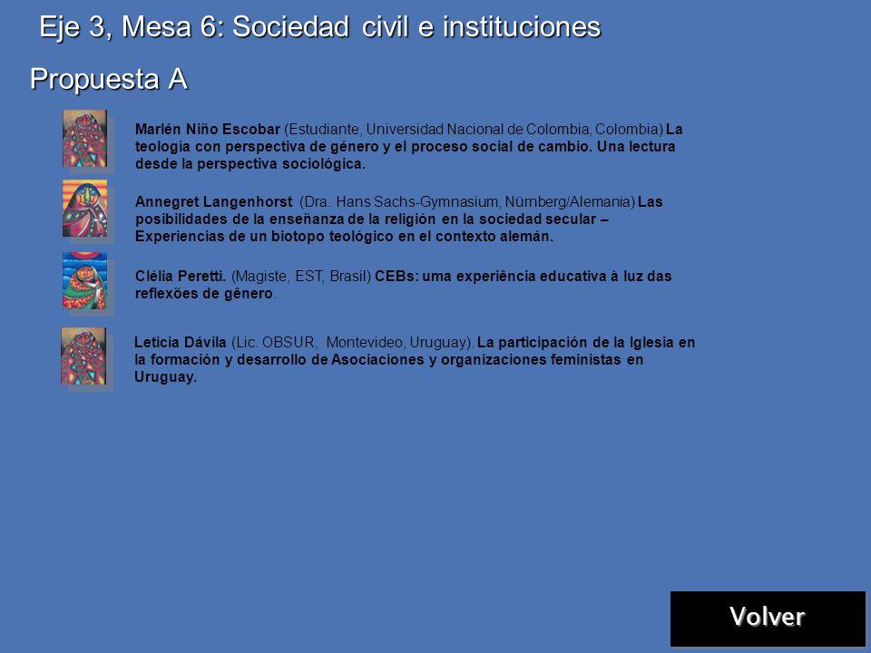 Eje 3, Mesa 5: Relaciones sociales de género Volver Las comunicaciones ingresadas fueron distribuidas en otras mesas