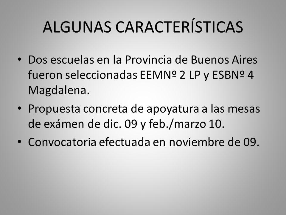 ALGUNAS CARACTERÍSTICAS Dos escuelas en la Provincia de Buenos Aires fueron seleccionadas EEMNº 2 LP y ESBNº 4 Magdalena.