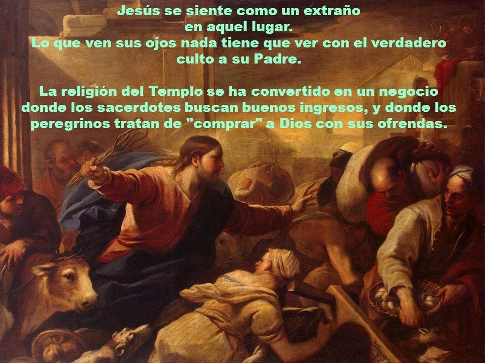 Jesús se llena de indignación. El narrador describe su reacción de manera muy gráfica: con un látigo saca del recinto sagrado a los animales, vuelca l