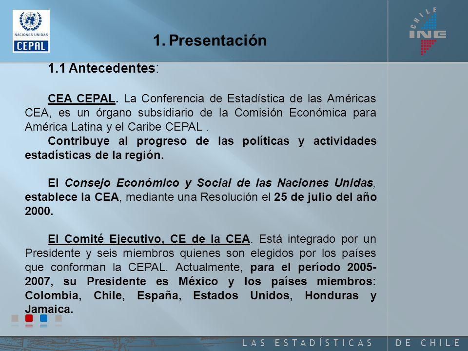 DE CHILELAS ESTADÍSTICAS 1.Presentación 1.1 Antecedentes: CEA CEPAL.