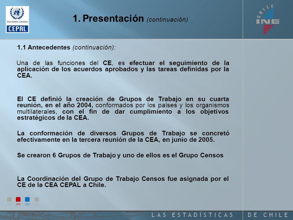 DE CHILELAS ESTADÍSTICAS 1. Presentación 1.1 Antecedentes: CEA CEPAL.