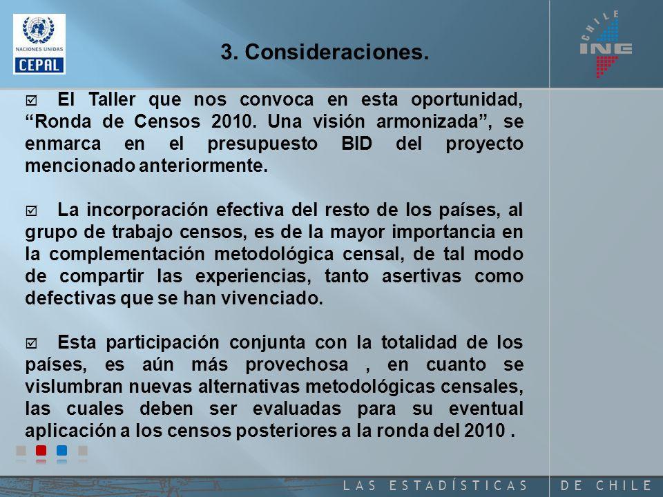 DE CHILELAS ESTADÍSTICAS Temas de las Plenarias I: Principios y Recomendaciones Censales de las Naciones Unidas II: Ronda de Censos 2010.