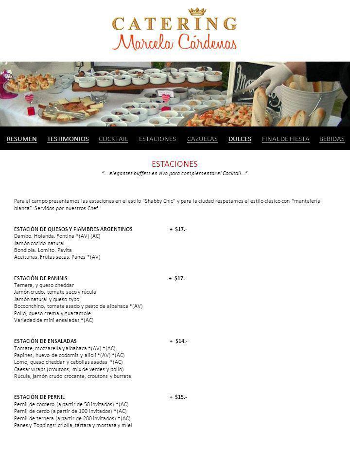 RESUMENBEBIDASTESTIMONIOSCAZUELASDULCESFINAL DE FIESTACOCKTAILESTACIONES … elegantes buffets en vivo para complementar el Cocktail… Para el campo pres