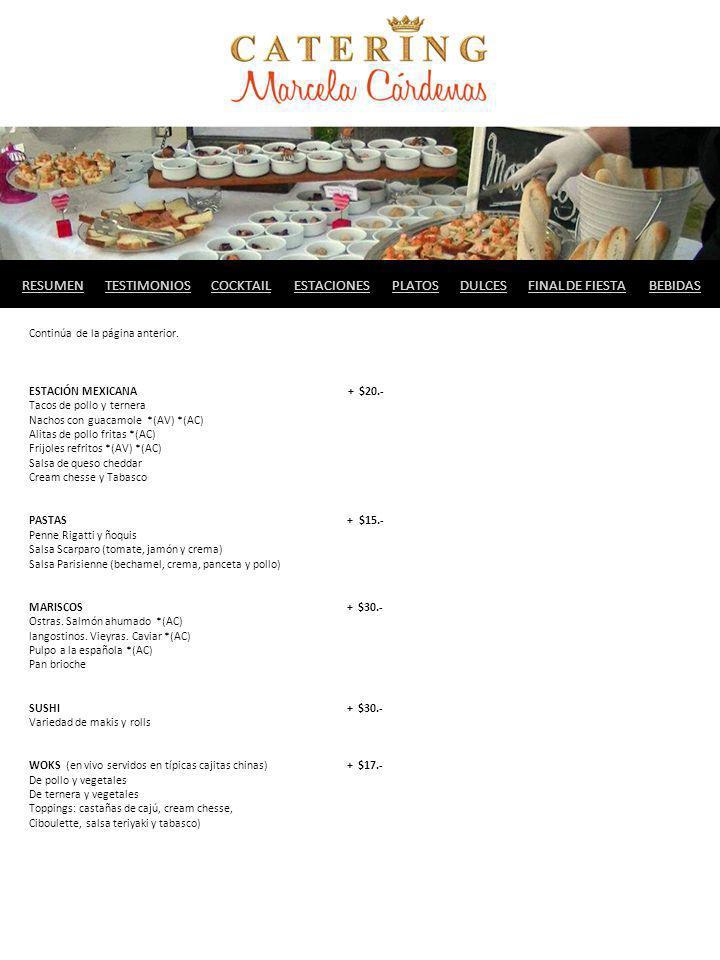 Continúa de la página anterior. ESTACIÓN MEXICANA + $20.- Tacos de pollo y ternera Nachos con guacamole *(AV) *(AC) Alitas de pollo fritas *(AC) Frijo