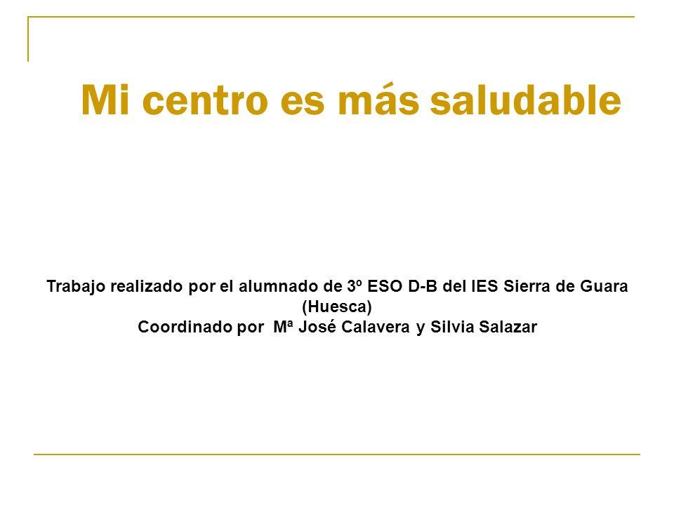 Mi centro es más saludable Trabajo realizado por el alumnado de 3º ESO D-B del IES Sierra de Guara (Huesca) Coordinado por Mª José Calavera y Silvia S
