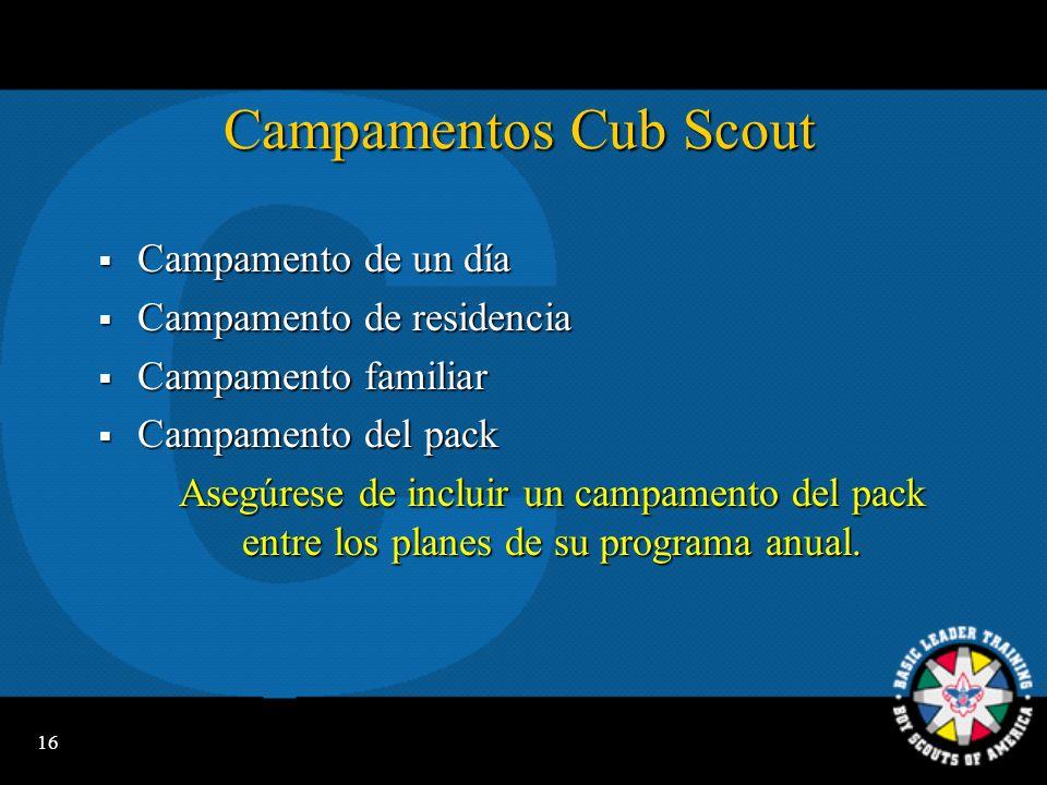 15 Planificación en el Pack Se construye alrededor de temas mensuales para Cub Scouts, actividades para Tiger Cubs y actividades para obtención de ins