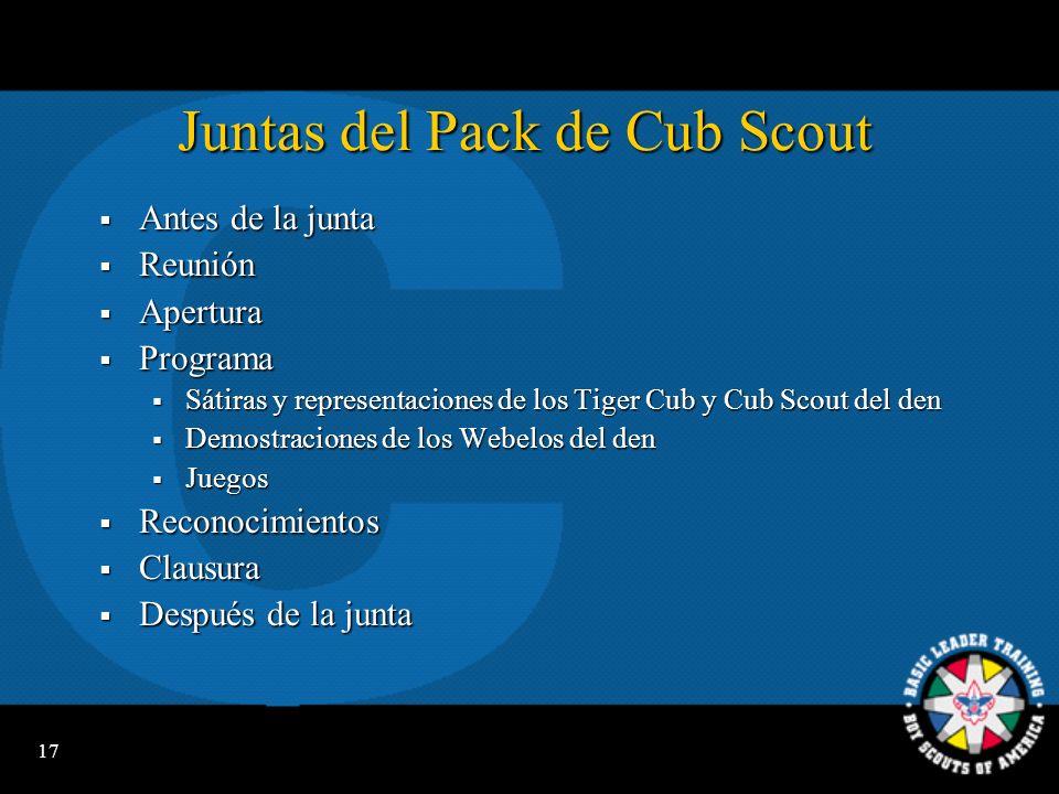 16 Campamentos Cub Scout Campamento de un día Campamento de un día Campamento de residencia Campamento de residencia Campamento familiar Campamento fa