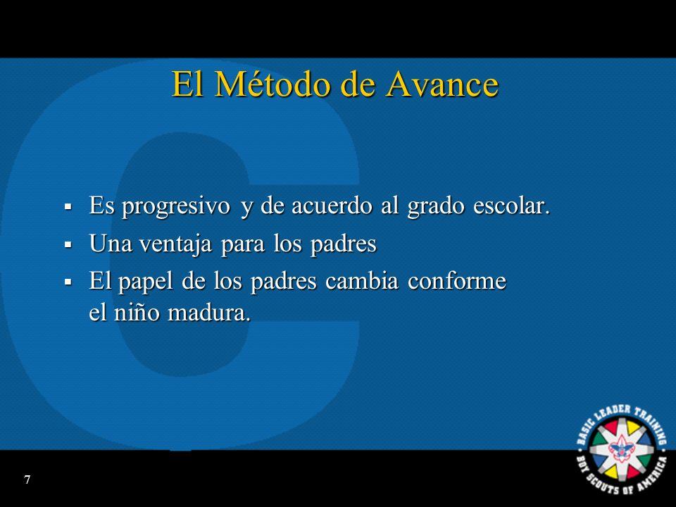 7 El Método de Avance Es progresivo y de acuerdo al grado escolar.