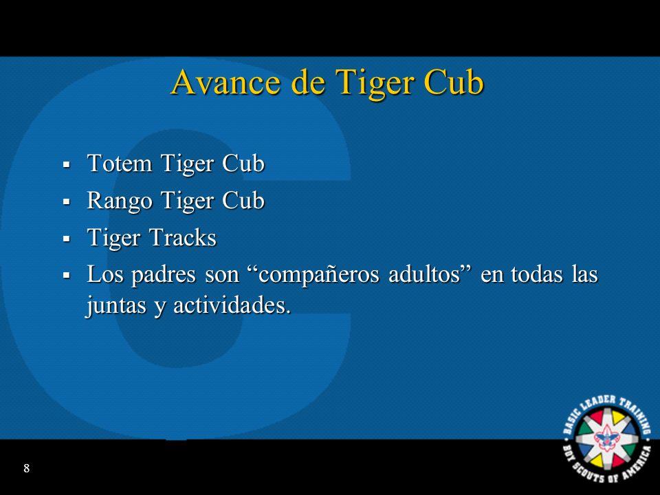 8 Avance de Tiger Cub Totem Tiger Cub Totem Tiger Cub Rango Tiger Cub Rango Tiger Cub Tiger Tracks Tiger Tracks Los padres son compañeros adultos en todas las juntas y actividades.