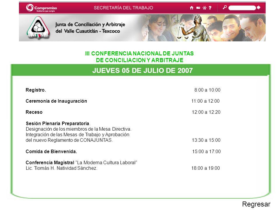 III CONFERENCIA NACIONAL DE JUNTAS DE CONCILIACION Y ARBITRAJE JUEVES 05 DE JULIO DE 2007 Regresar Registro.