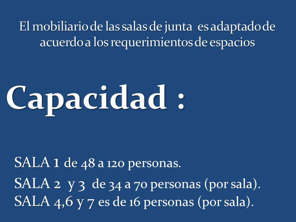 Capacidad : SALA 1 de SALA 1 de 48 a 120 personas.