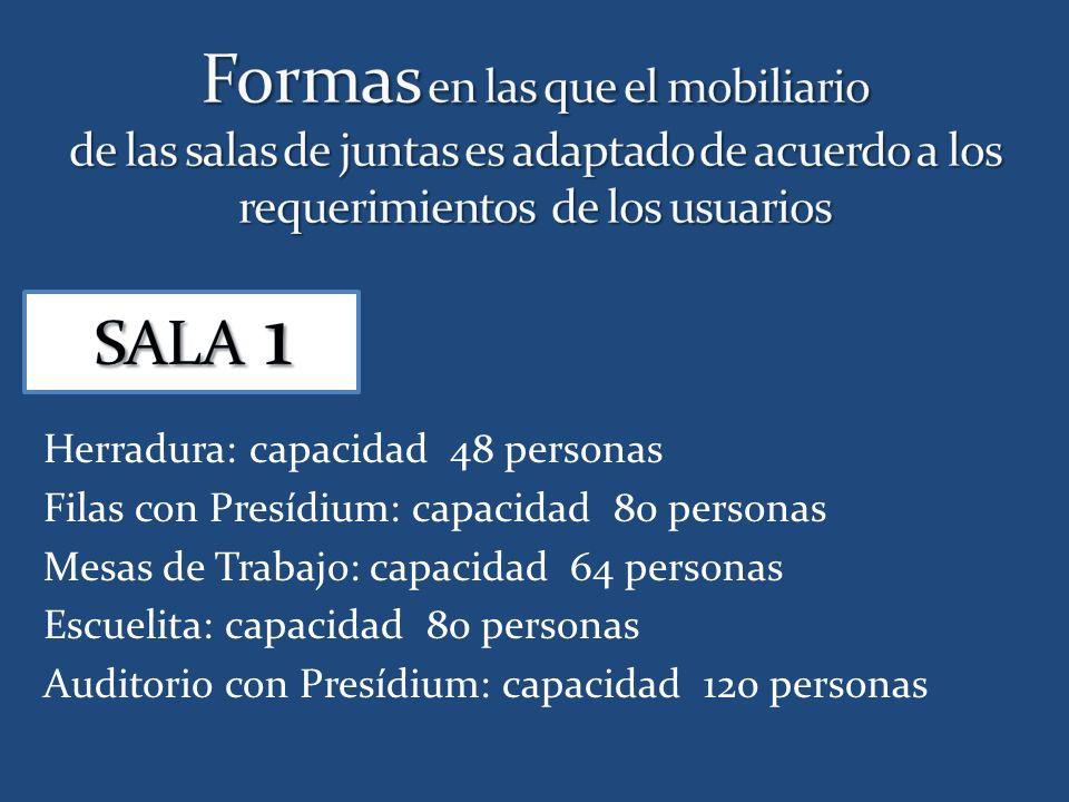 Herradura: capacidad 48 personas Filas con Presídium: capacidad 80 personas Mesas de Trabajo: capacidad 64 personas Escuelita: capacidad 80 personas Auditorio con Presídium: capacidad 120 personas