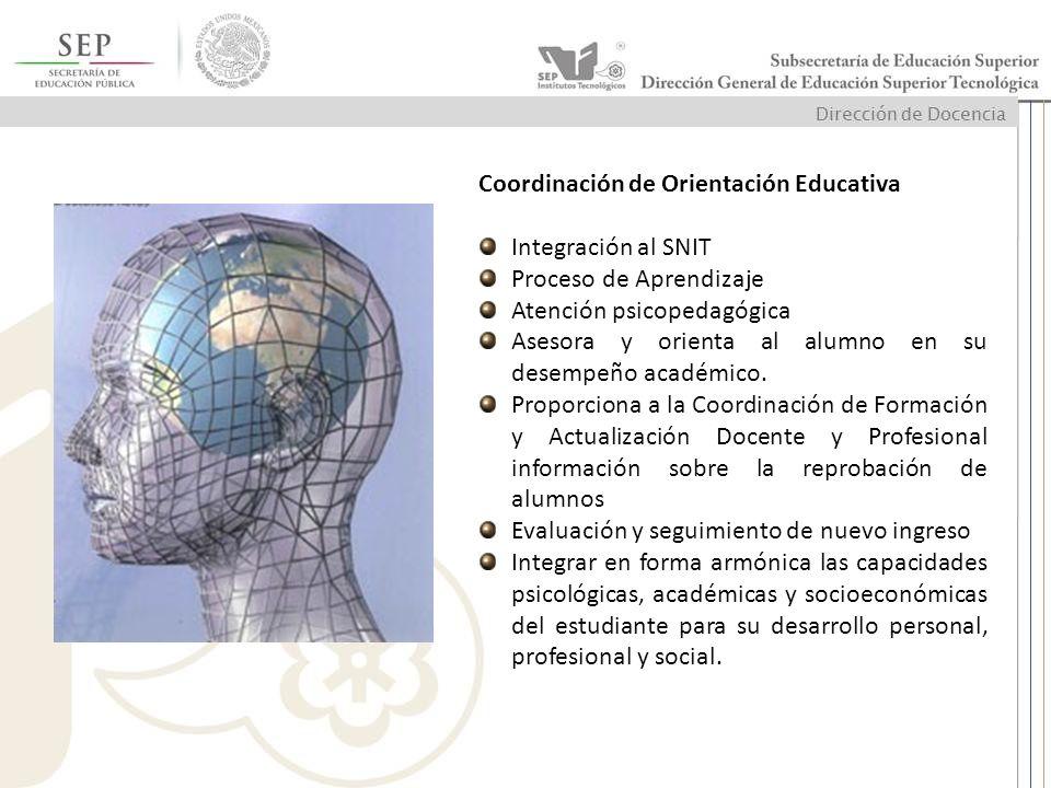 Coordinación de Orientación Educativa Integración al SNIT Proceso de Aprendizaje Atención psicopedagógica Asesora y orienta al alumno en su desempeño
