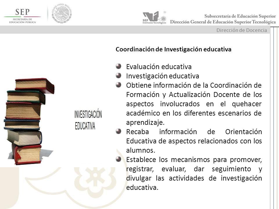 Coordinación de Investigación educativa Evaluación educativa Investigación educativa Obtiene información de la Coordinación de Formación y Actualizaci