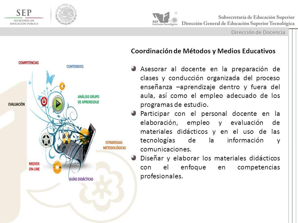 Coordinación de Métodos y Medios Educativos Asesorar al docente en la preparación de clases y conducción organizada del proceso enseñanza –aprendizaje