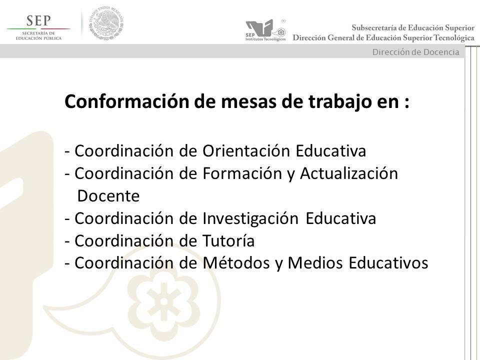 Conformación de mesas de trabajo en : - Coordinación de Orientación Educativa - Coordinación de Formación y Actualización Docente - Coordinación de In