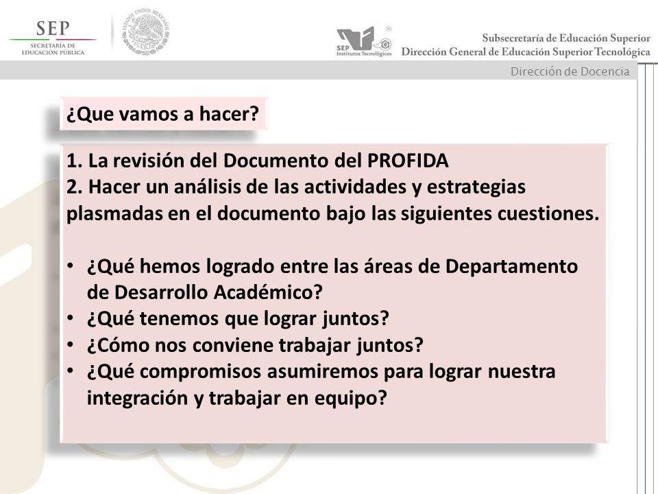 1. La revisión del Documento del PROFIDA 2. Hacer un análisis de las actividades y estrategias plasmadas en el documento bajo las siguientes cuestione