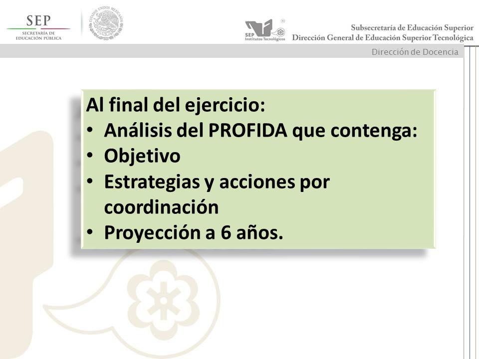 Al final del ejercicio: Análisis del PROFIDA que contenga: Objetivo Estrategias y acciones por coordinación Proyección a 6 años. Al final del ejercici