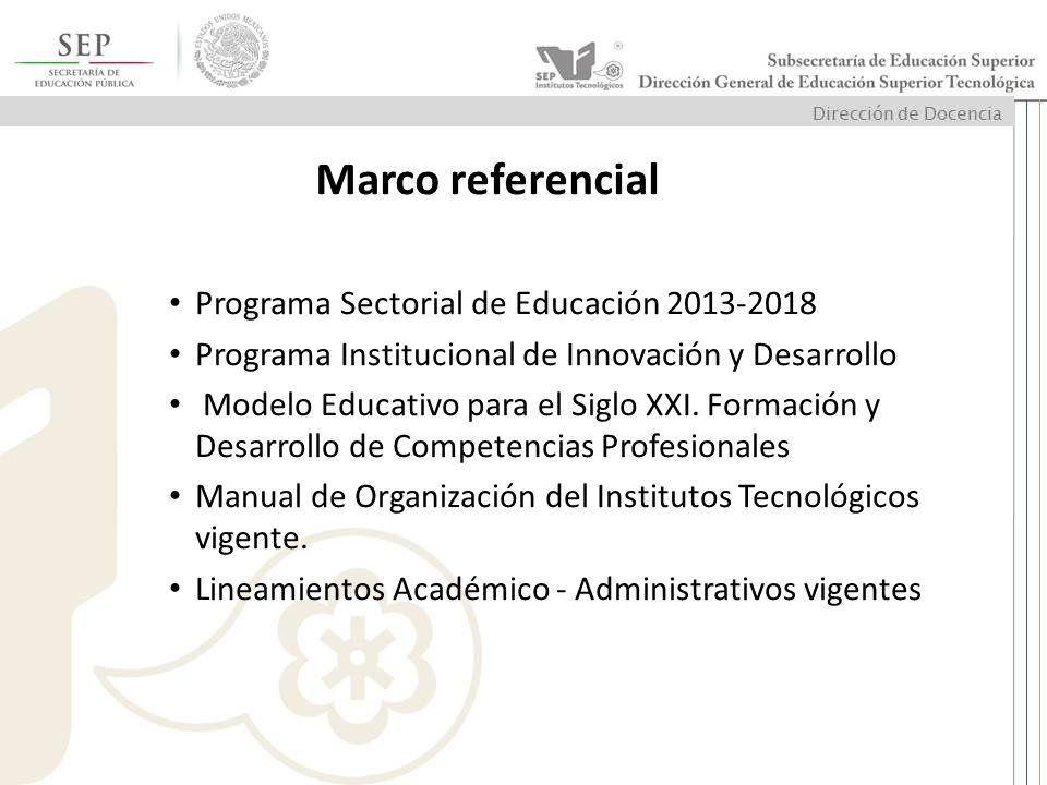 Marco referencial Programa Sectorial de Educación 2013-2018 Programa Institucional de Innovación y Desarrollo Modelo Educativo para el Siglo XXI. Form