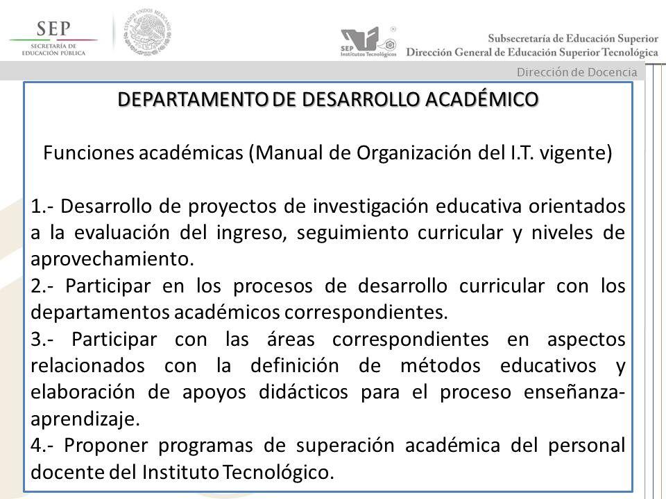 DEPARTAMENTO DE DESARROLLO ACADÉMICO Funciones académicas (Manual de Organización del I.T. vigente) 1.- Desarrollo de proyectos de investigación educa