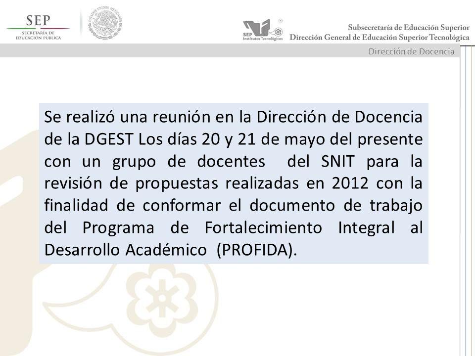 Se realizó una reunión en la Dirección de Docencia de la DGEST Los días 20 y 21 de mayo del presente con un grupo de docentes del SNIT para la revisió