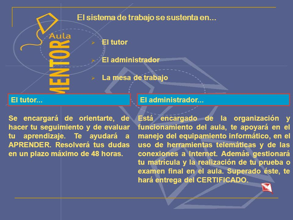 El sistema de trabajo se sustenta en... El tutor El administrador La mesa de trabajo El tutor...