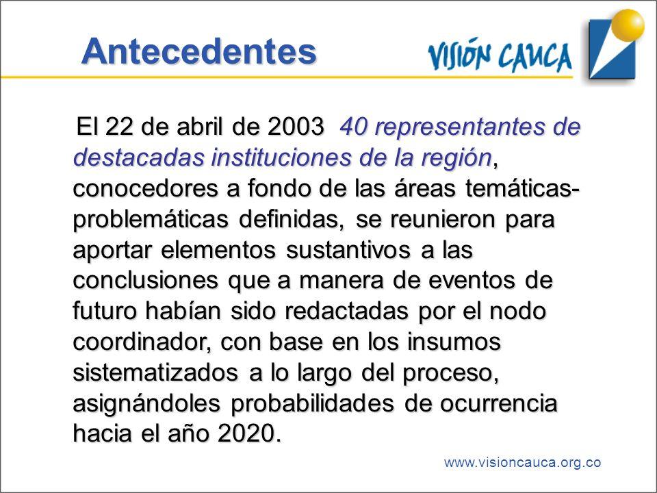 www.visioncauca.org.co Antecedentes El 22 de abril de 2003 40 representantes de destacadas instituciones de la región, conocedores a fondo de las área