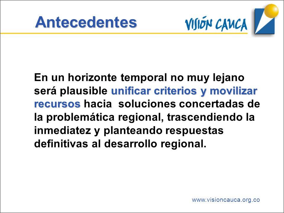 www.visioncauca.org.co Antecedentes unificar criterios y movilizar recursos En un horizonte temporal no muy lejano será plausible unificar criterios y