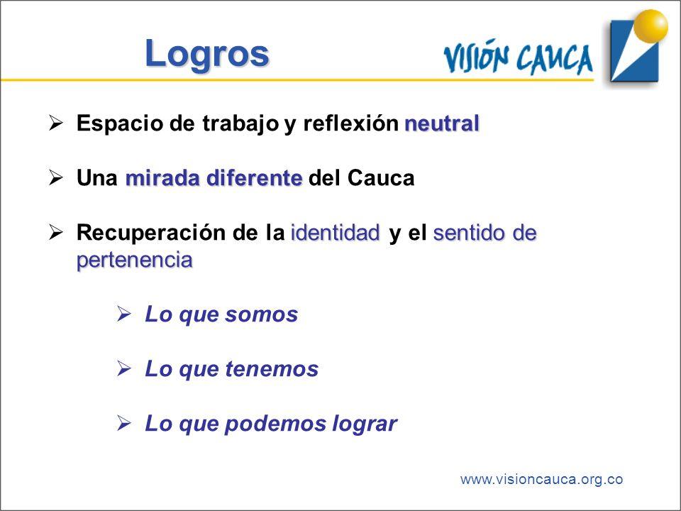 www.visioncauca.org.co Logros neutral Espacio de trabajo y reflexión neutral mirada diferente Una mirada diferente del Cauca identidadsentido de perte