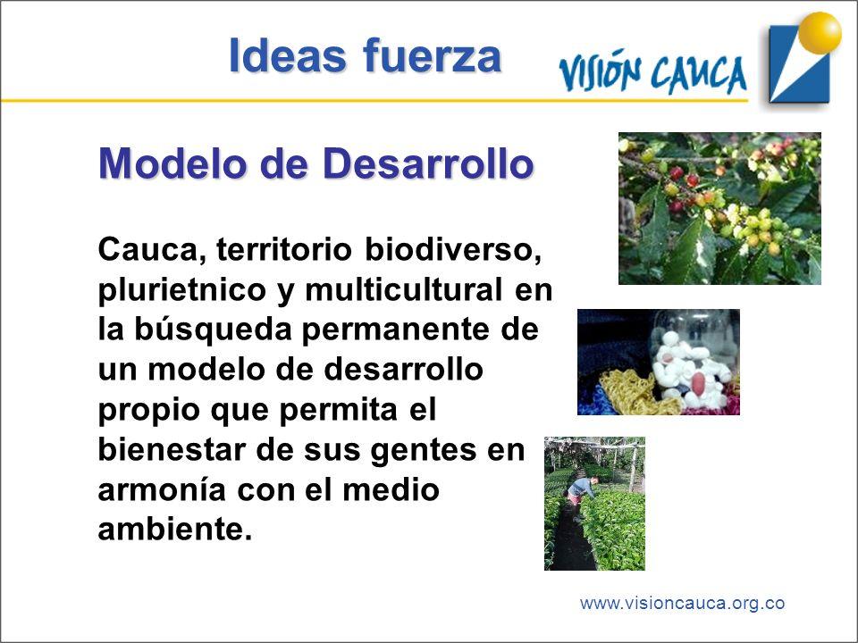 www.visioncauca.org.co Ideas fuerza Modelo de Desarrollo Cauca, territorio biodiverso, plurietnico y multicultural en la búsqueda permanente de un mod