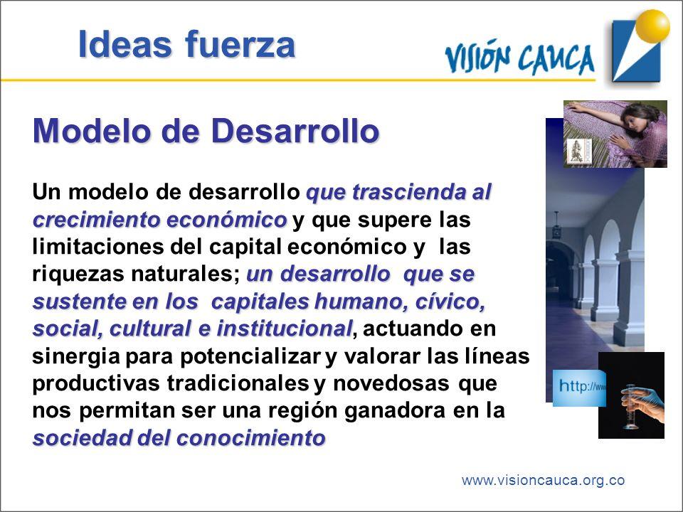 www.visioncauca.org.co Ideas fuerza Modelo de Desarrollo que trascienda al crecimiento económico un desarrollo que se sustente en los capitales humano