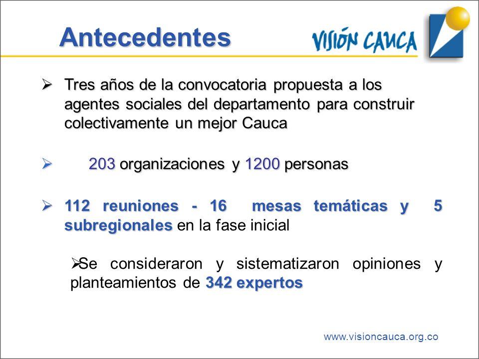 www.visioncauca.org.co Antecedentes Tres años de la convocatoria propuesta a los agentes sociales del departamento para construir colectivamente un me