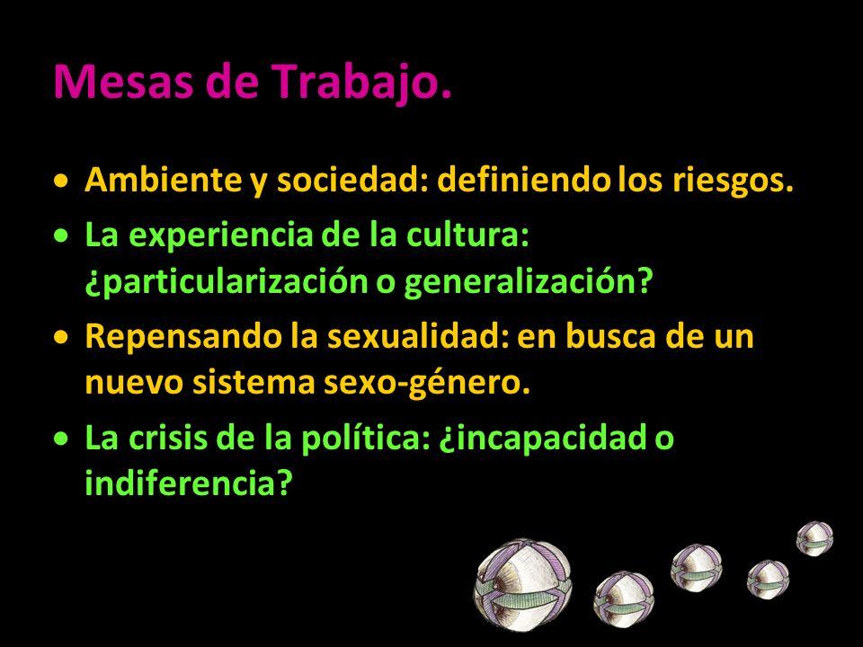 Mesas de Trabajo. Ambiente y sociedad: definiendo los riesgos. La experiencia de la cultura: ¿particularización o generalización? Repensando la sexual