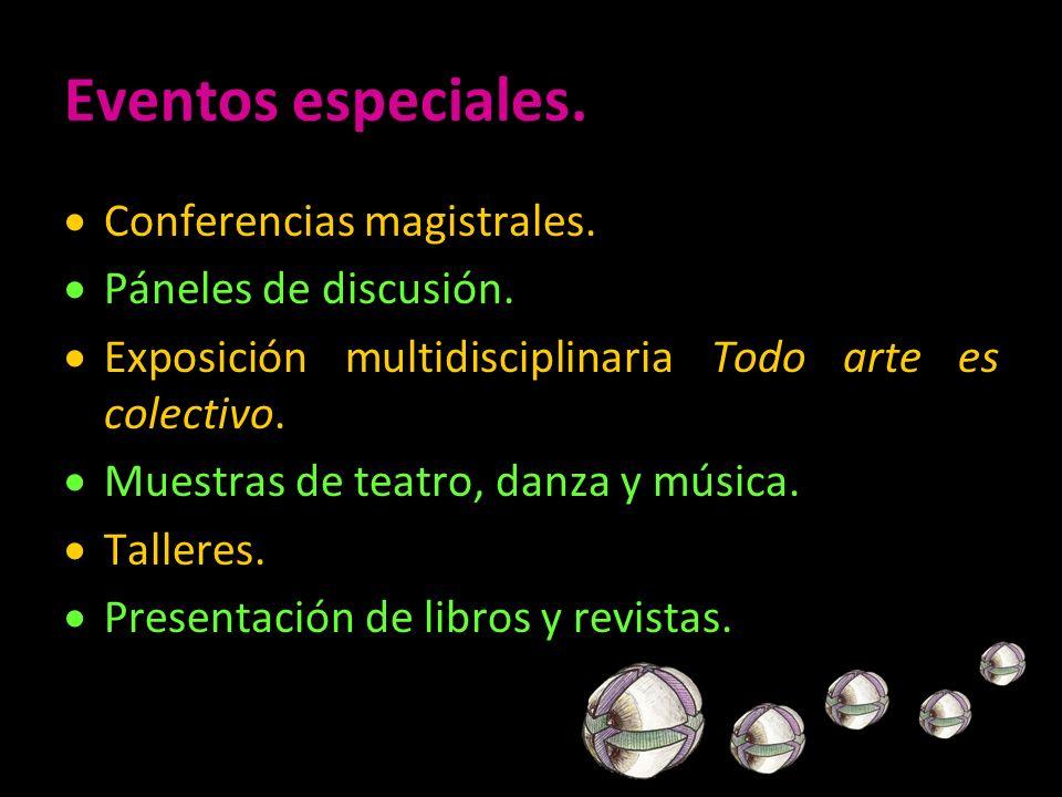 Eventos especiales. Conferencias magistrales. Páneles de discusión. Exposición multidisciplinaria Todo arte es colectivo. Muestras de teatro, danza y