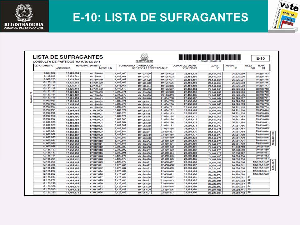 E-10: LISTA DE SUFRAGANTES