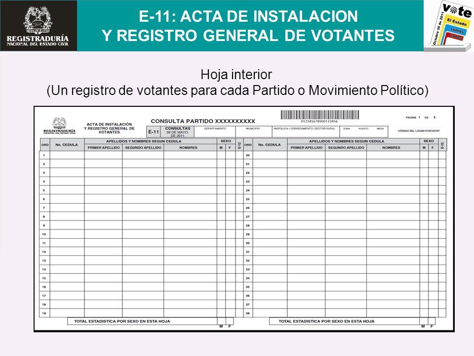 Hoja interior (Un registro de votantes para cada Partido o Movimiento Político) E-11: ACTA DE INSTALACION Y REGISTRO GENERAL DE VOTANTES