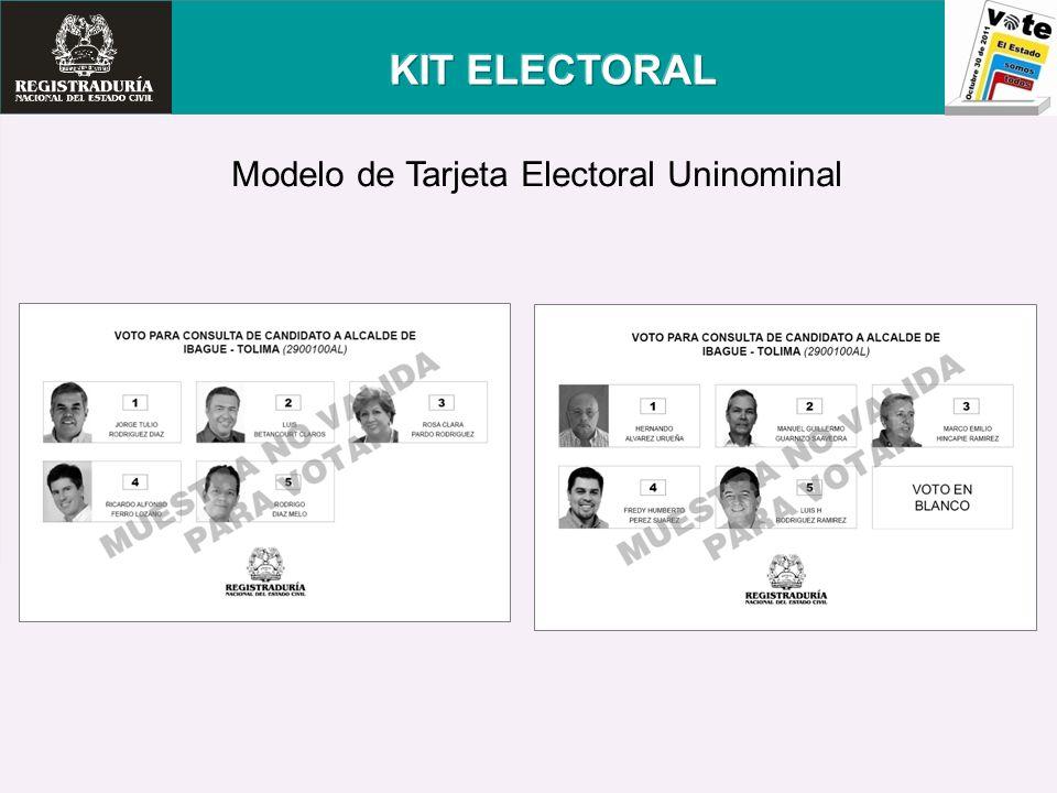 Modelo de Tarjeta Electoral Uninominal