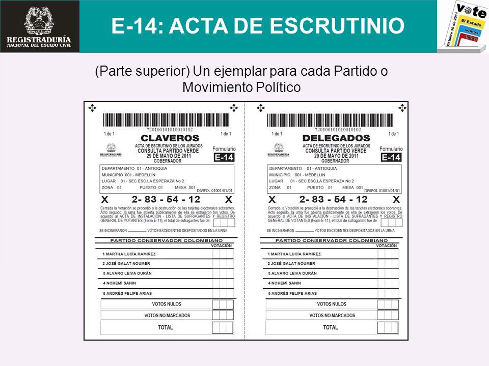 (Parte superior) Un ejemplar para cada Partido o Movimiento Político E-14: ACTA DE ESCRUTINIO