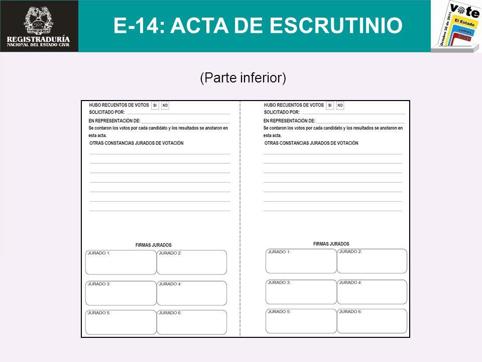 (Parte inferior) E-14: ACTA DE ESCRUTINIO